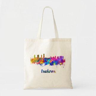Incheon skyline in watercolor tote bag