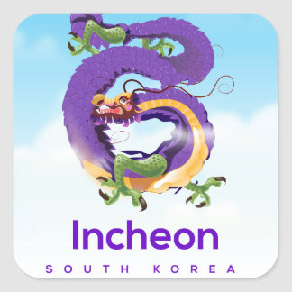 Incheon South Korea Dragon Square Sticker
