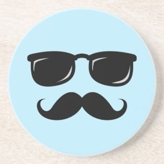 Incognito blue coaster with mustache