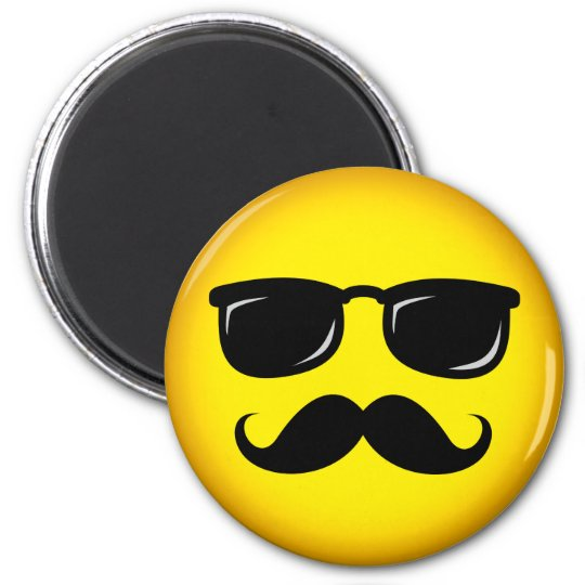 Incognito yellow moustache smiley magnet