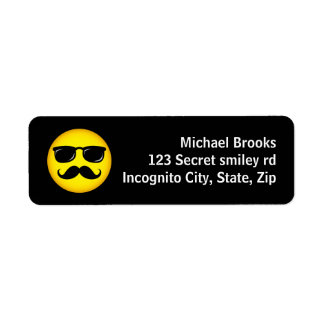 Incognito yellow mustache smiley address labels