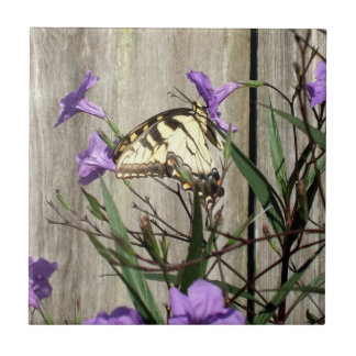 Incredible Eastern Tiger Swallowtail in Petunias Small Square Tile