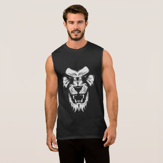Incredible Men's Sleeveless T-Shirt In Lion Design
