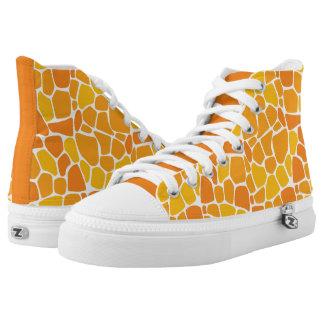 Incredibly Orange High Tops | Giraffe Skin Printed Shoes