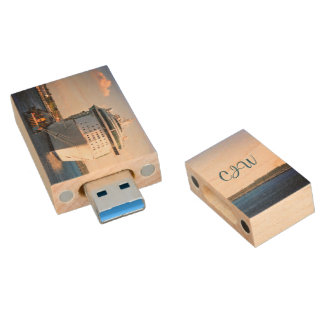 Independence at Cozumel Monogrammed Wood USB Flash Drive