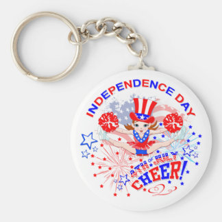 Independence Day, 4th July, Cheer  key ring