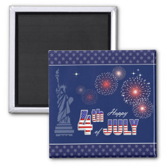 Independence Day, 4th of July Square Magnet