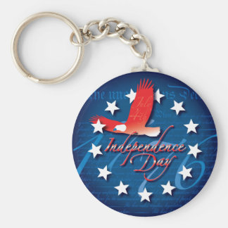 Independence Day Basic Round Button Key Ring