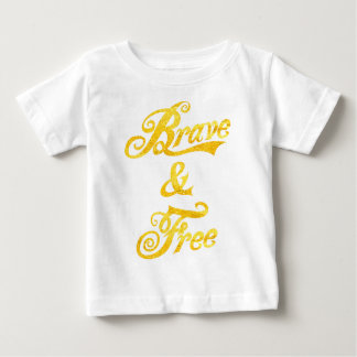 independence day brave and free tee  gold print
