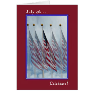 Independence Day Card with Five Flags