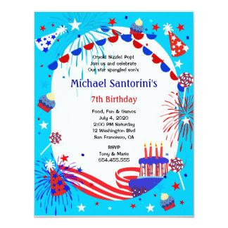 Independence Day Kid's Birthday Party Invitation