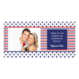 Independence Day Patriotic Wedding Thank You Customised Photo Card