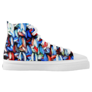 Independence Day red white and blue crochet High Tops
