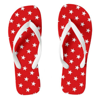 Independence Day Red with White Stars Thongs