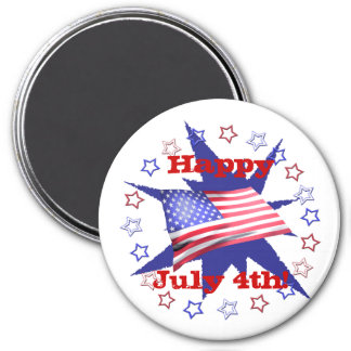 Independence Day Star Circle 7.5 Cm Round Magnet