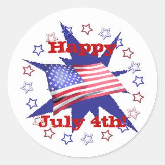 Independence Day Star Circle Round Sticker