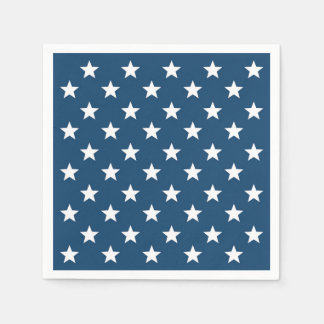 Independence Day Stars in White on Navy Blue Disposable Serviette