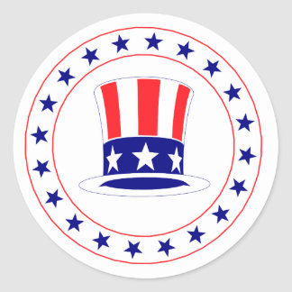 Independence Day Uncle Sam's Hat Classic Round Sticker