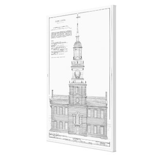 Independence Hall Blueprint Schematics Canvas Print