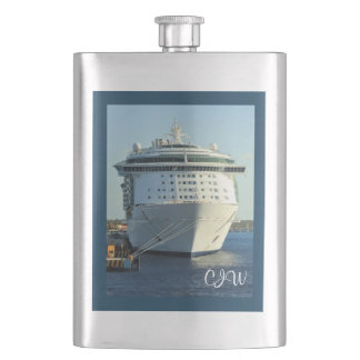 Independence in Cozumel Monogrammed Hip Flask
