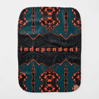 Independent in Orange and Green Burp Cloth