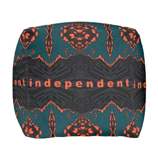 Independent in Orange and Green Pouf