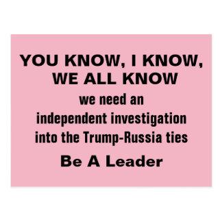 Independent Investigation into Trump Russia Ties Postcard