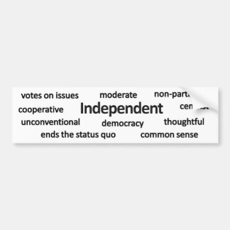 Independent voter philosophy and values bumper sticker