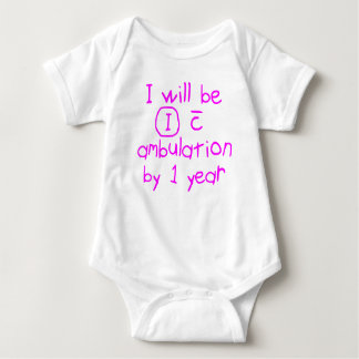 independent with ambulation pink handwriting PT Baby Bodysuit