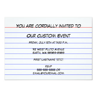 Index Card Personalized Invitations