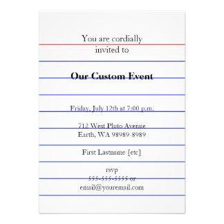 Index Card Custom Invitations