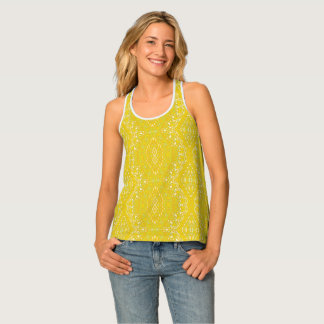Indi pattern-89 Yellow Tank Top