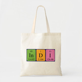 Indi periodic table name tote bag