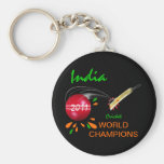 India 2011 ICC Cricket World Cup Champions Basic Round Button Key Ring