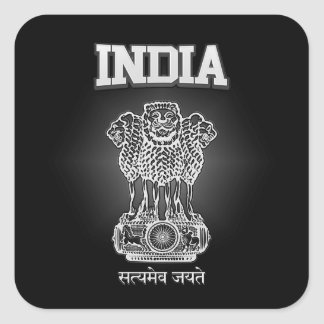 India Coat of Arms Square Sticker