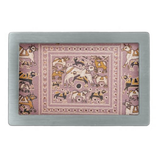 India Cow Menagerie Print Rectangular Belt Buckle