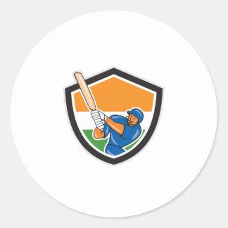 India Cricket Player Batsman Batting Shield Cartoo Stickers