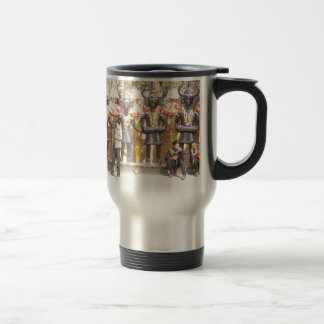India cultural show statue of musicians artists travel mug