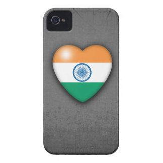 India Flag Heart on mono background. Blackberry iPhone 4 Case-Mate Case
