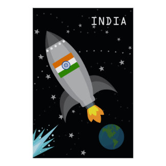 India Flag Rocket Ship Poster
