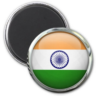 India Flag Round Glass Ball 6 Cm Round Magnet
