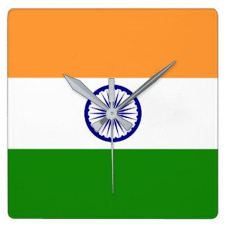 India Flag Square Wall Clock