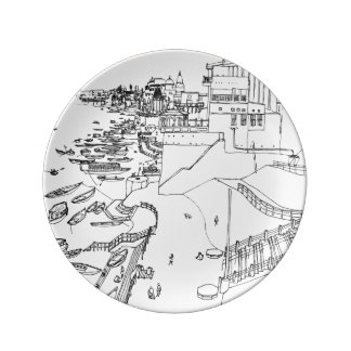India - Ganges to river in Varanasi Plate