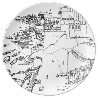 India - Ganges to river in Varanasi Porcelain Plate