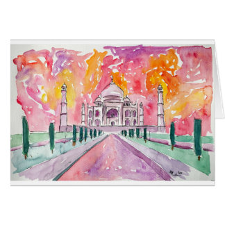 India palace at sunset card