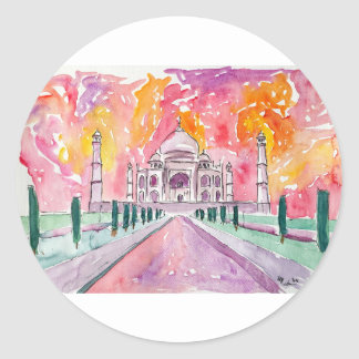 India palace at sunset classic round sticker
