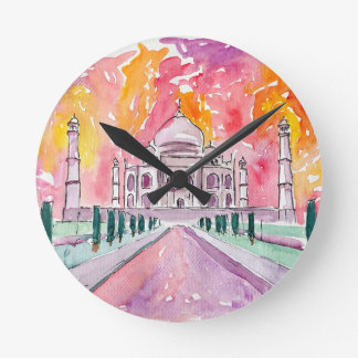 India palace at sunset round clock