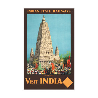 India Railways Vintage Travel Poster Restored Canvas Print