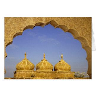 India, Rajasthan, Jaisalmer. Sandstone domes Card