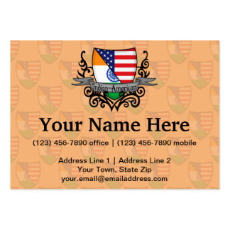 Indian-American Shield Flag Pack Of Chubby Business Cards